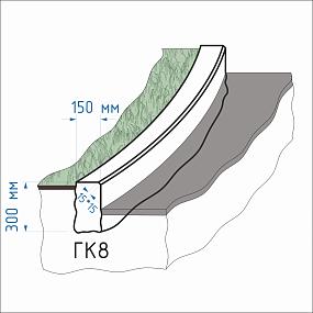 Криволинейный гранитный бордюр ГК